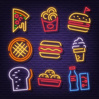 Iconos de neón de comida rápida