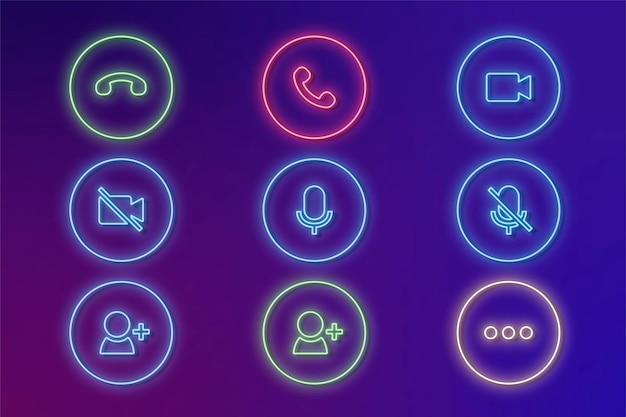 Iconos de neón de comunicaciones