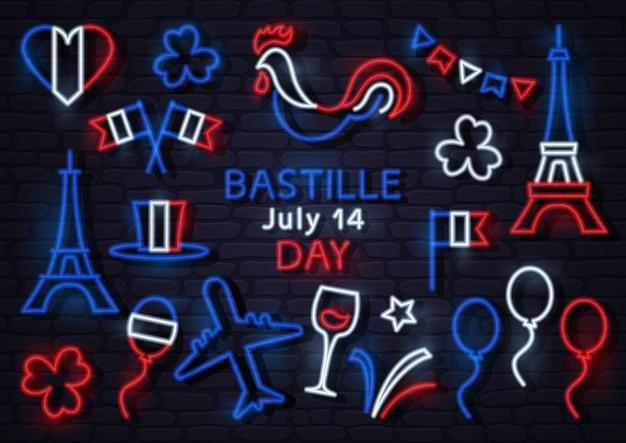 Iconos de neón para el día de la bastilla de francia el 14 de julio. ilustración