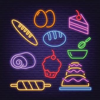 Iconos de neón de panadería