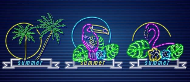 Iconos de neón tropical
