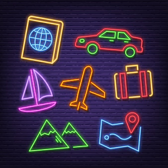 Iconos de neón de viaje