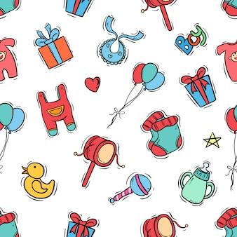 Iconos de niños en patrones sin fisuras con estilo doodle color