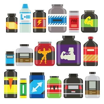 Iconos de nutrición de comida deportiva en estilo plano y larga sombra. estilo plano detallado