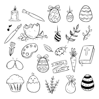 Iconos o elementos de pascua con estilo de boceto o dibujado a mano