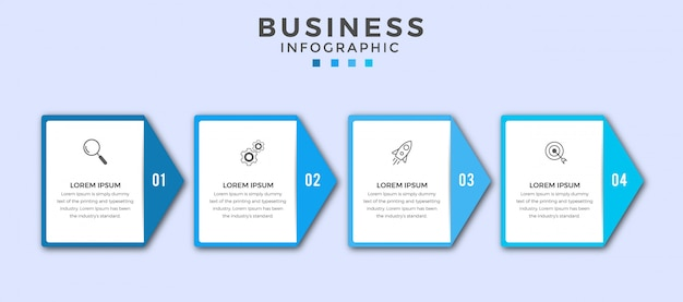 Iconos o pasos de diseño de infografía empresarial premium