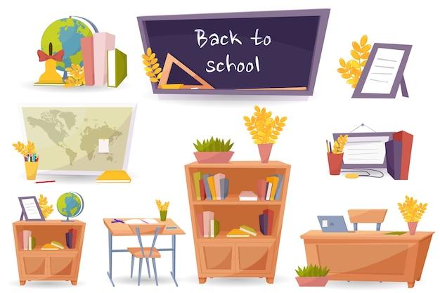 Iconos de objetos escolares, regreso a la escuela