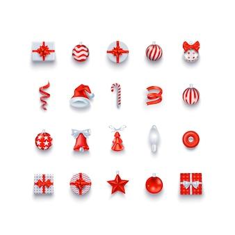 Los iconos y objetos navideños establecen decoraciones navideñas