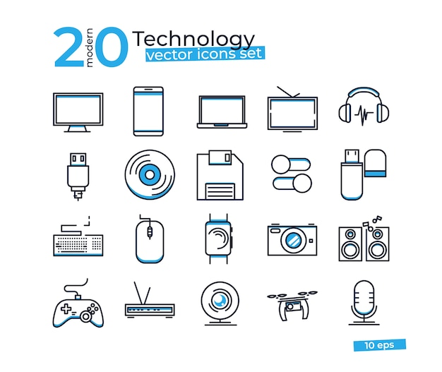 Iconos de objetos de tecnología establecidos para la tienda de diseño en línea.