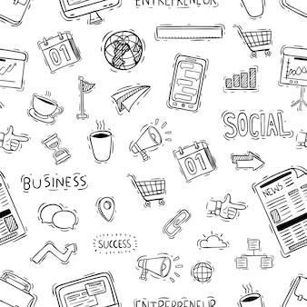 Iconos de oficina o negocio en patrones sin fisuras con estilo doodle
