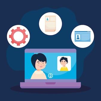 Iconos de oficina y videollamadas de conferencia alrededor