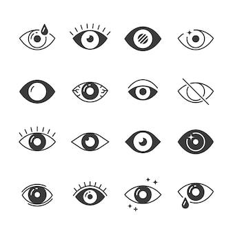 Iconos de ojos visión humana y signos de visión. visible, dormir y observar símbolos
