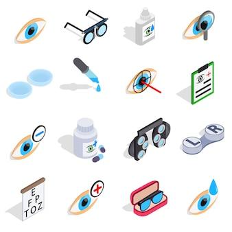 Los iconos de la optometría fijados en el estilo isométrico 3d. cuidado y salud ocular set colección vector ilustración