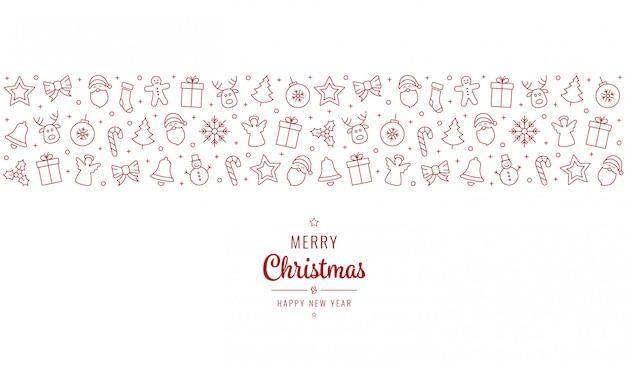 Iconos del ornamento del saludo de navidad
