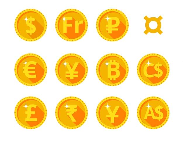 Iconos de oro de la moneda mundial