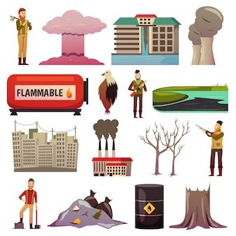 Iconos ortogonales de desastres hechos por el hombre