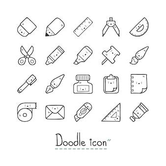 Iconos de papelería lindo.