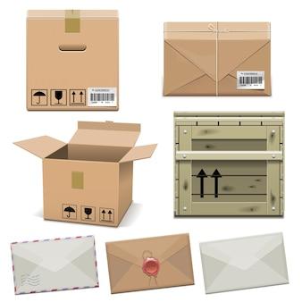 Iconos de paquete aislados en blanco