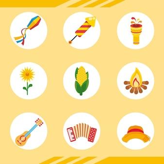 Iconos de paquete de celebración de festa junina