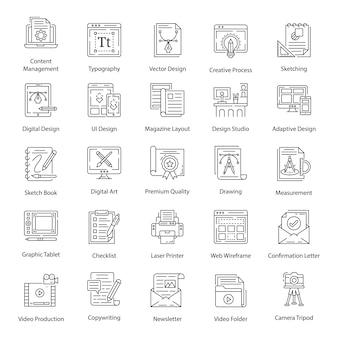 Iconos de paquete de diseño gráfico en estilo de línea
