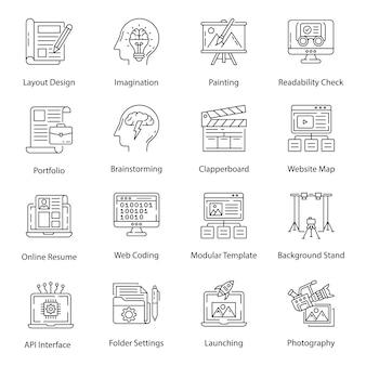 Iconos de paquete de fotografía y arte gráfico en estilo de línea