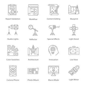 Iconos de paquete de fotografía digital y arte en estilo de línea