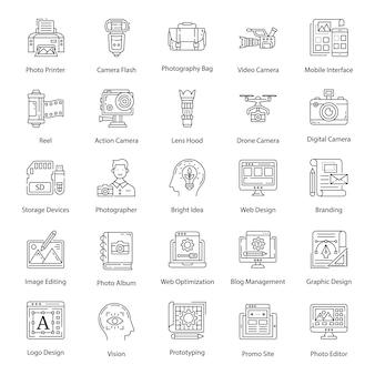 Iconos de paquete de fotografía en estilo de línea
