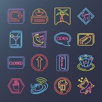Iconos de paquete de letreros de neón con restaurante de comida rápida, música de bar y más ilustración