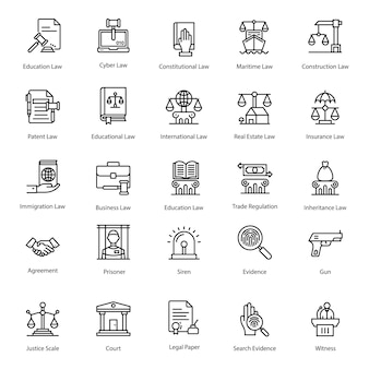 Iconos de paquete de línea de ley de justicia
