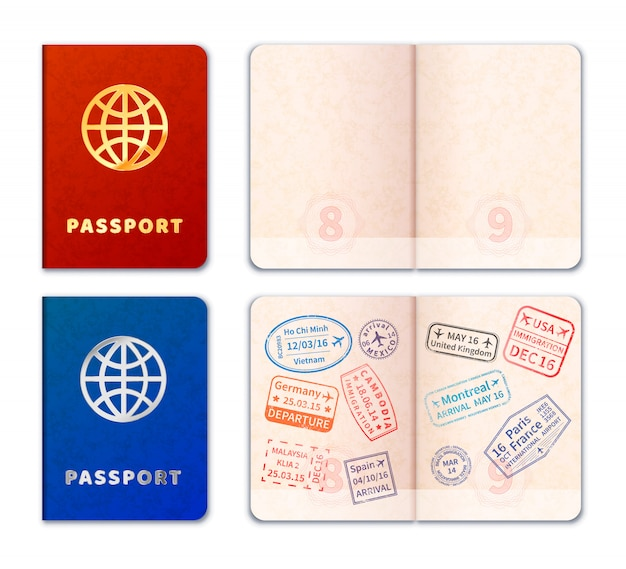 Iconos de pasaporte realistas