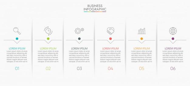 Iconos de paso de infografía de datos de negocios