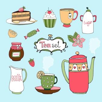 Iconos de pastel y juego de té dibujados a mano con una tetera o tetera