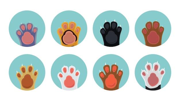 Iconos de pata de gato. pies de gatito de dibujos animados en círculos, iconos vectoriales de mascotas
