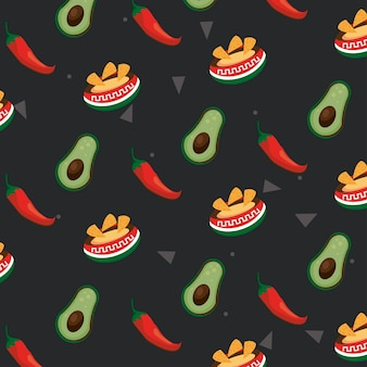 Iconos de patrón de comida de celebración mexicana