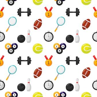 Iconos de patrones sin fisuras de deporte aislados sobre fondo blanco.