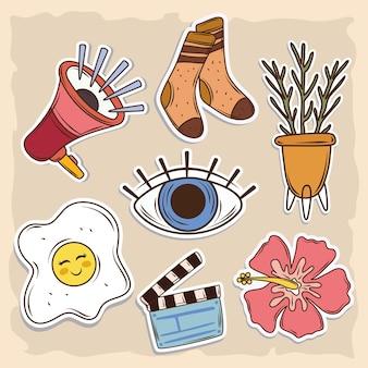Iconos de pegatinas lindas