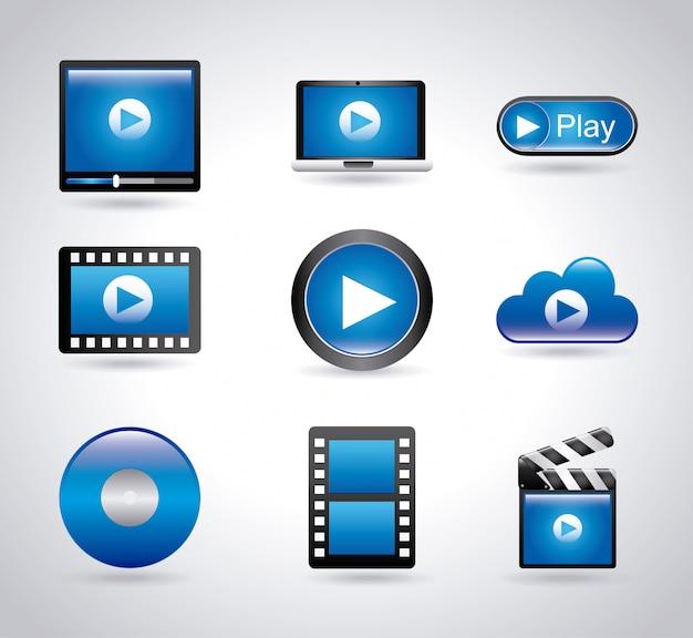 Iconos de películas de jugadores sobre ilustración de backgroundvector gris