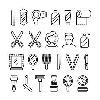 Iconos de peluquería. hermoso peinado y corte de pelo vector línea símbolos