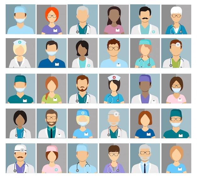 Iconos de perfil de médicos y enfermeras. avatares de cirujanos y terapeutas, oculistas y nutricionistas.