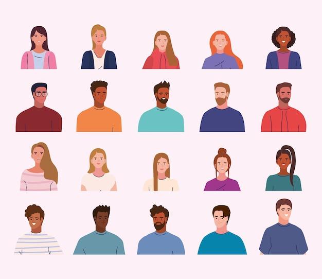Iconos de perfiles de jóvenes