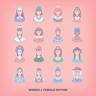 Iconos de personas de dibujos animados. mujer, niña, elementos femeninos. ilustración del concepto