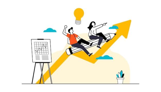 Iconos de personas de diseño plano de análisis y estrategia empresarial de desarrollo de proyectos de puesta en marcha