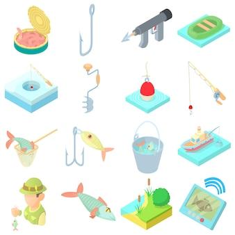 Iconos de pesca en estilo de dibujos animados
