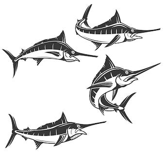 Iconos de pez espada sobre fondo blanco. ilustración.
