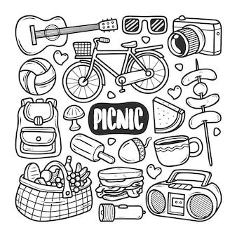 Iconos picnic dibujado a mano doodle para colorear