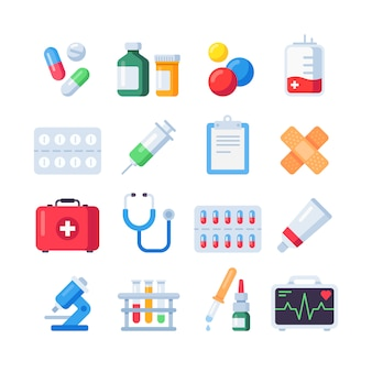 Iconos de píldoras planas, dosis de medicamento de tratamiento para