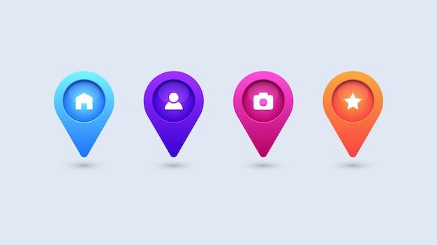 Iconos de pin de mapa colorido