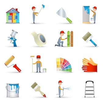 Iconos de pintor establecidos planos