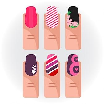 Iconos de pintura de uñas vector set