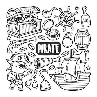 Iconos de pirata dibujado a mano doodle para colorear